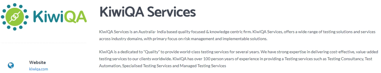 KiwiQA - India based Quality Focused & Knowledge Centric Company