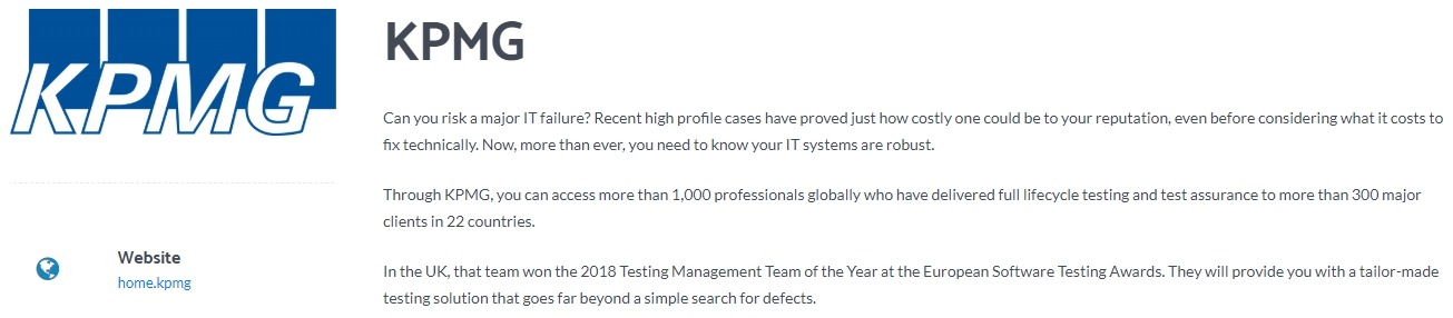 KPMG - One Of The Biggest Software Testing Companies
