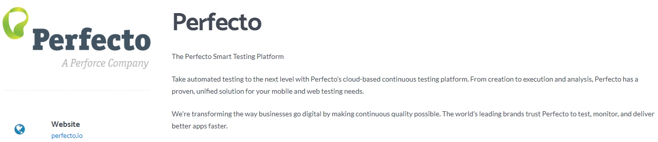 Perfecto - Leading Software Testing Platform