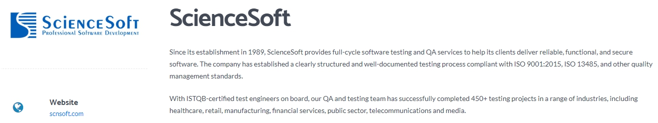 ScienceSoft - Leading Software Testing Company