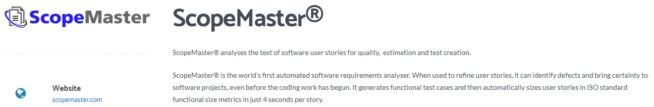 ScopeMaster - The Best Automated Software Requirements Analyser