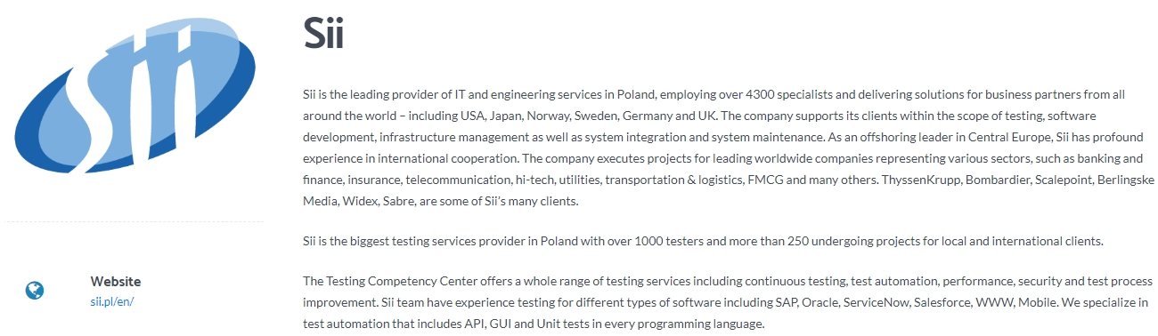 Sii - The Biggest Software Testing Services Provider in Poland